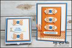 Stampin' Anne: A Paper Pumpkin Thing - Hello Pumpkin Masculine Birthday Cards, Masculine Cards, First Birthday Favors, Happy Birthday, Stampin Up Paper Pumpkin, Have A Happy Day, Time To Celebrate, Metallic Colors, Homemade Cards