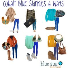 cobalt blue skinny jeans 6 ways - dress em up, dress em down - accessories from Blue Star Bazaar