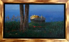"""Xatzopoulos - Greek painter """"Boat"""" Dimensions: 114x70 cm Painters, Greek, Presents, Boat, Artist, Nature, Gifts, Dinghy, Naturaleza"""