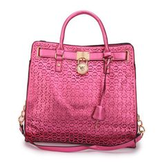 Our Michael Kors Hamilton Perforated Logo Large Pink Totes Lets You Become A Eye-Catching Person! #FallingInLoveWith #MKTimeless