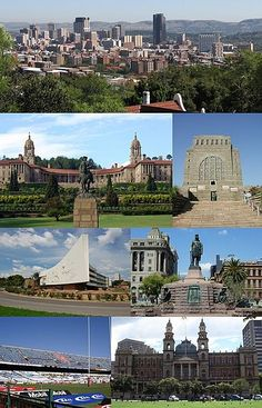Montage of Pretoria - From the top, left corner clockwise:Pretoria CBD skyline, Front view of the Union Buildings, Voortrekker Monument, Administration Building of the University of Pretoria, Church Square, Loftus Versfeld Stadium and the Palace of Justice.