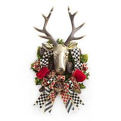 Stag Wreath - planning to recreate this holiday piece MacKenzie Childs is selling. $175 is too much for a holiday wreath but love the idea!