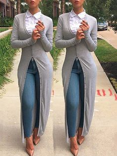 Autumn women long sleeve buttoned closure cardigan chicme com online discover hottest trend fashion at chicme com Mode Outfits, Chic Outfits, Fall Outfits, Look Fashion, Autumn Fashion, Womens Fashion, Fashion Beauty, Casual Chic, Casual Wear