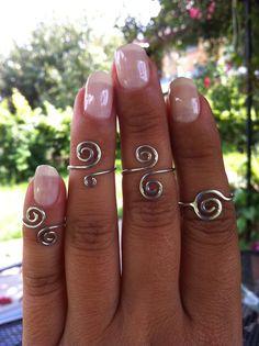 Spiral Silver Rings Knuckle Rings  Midi Rings  by silverjoy2003