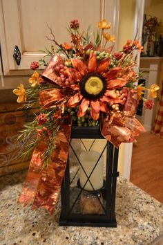 Rust Sunflower Lantern Swag by kristenscreations on Etsy
