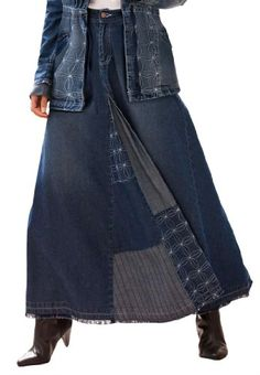b2a6b1e117197 Roamans Women s Plus Size Patchwork Denim Skirt