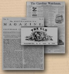 North Carolina Newspaper Digitization Project. FREE Newspaper searches from 1752-1890s.      A total of 23,483 digital images that are keyword searchable. The project was made possible by a LSTA grant provided by the State Library of North Carolina.