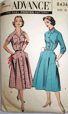 Gorgeous 1950s Shirtwaist Dress by Advance 8436 by Denisecraft, $15.99
