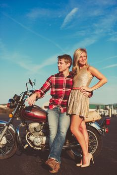 Vintage Airplanes Motorcycles Engagement Shoot \ Julie Shane