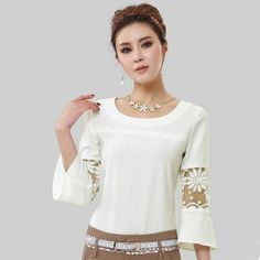 2014 New Womens Chiffon Lace Hollow Crew Neck Casual Shirt Blouse Plus Size Tops