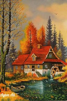 belles images nature et jardins – Page 2 Landscape Art, Landscape Paintings, Belle Image Nature, Scenery Paintings, Autumn Scenes, Thomas Kinkade, Cabins In The Woods, Painting Inspiration, Beautiful Landscapes