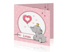 Lief handgetekend geboortekaartje voor een meisje met een olifantje, kroon en een ballon, met naamlabel, sterren en hartjes print. (3093)