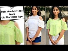DIY: Convert Old Sleeveless Tops into Cold Shoulder Tops | How to Add Cold Shoulder Sleeves - YouTube