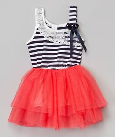 Navy & Hot Pink Stripe Tutu Dress - Infant, Toddler & Girls