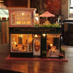 New Paris Coffee shop Wooden Dollhouse miniature Doll House - Cover - Music by MiniatureDIY on Etsy https://www.etsy.com/listing/237916081/new-paris-coffee-shop-wooden-dollhouse