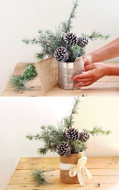 Snowy Tree Winter & Christmas DIY Table Decoration {in 20 Minutes!} table decorations , Snowy Tree Winter & Christmas DIY Table Decoration {in 20 Minutes!} Snowy Tree Winter & Christmas DIY Table Decoration {in 20 Minutes! Winter Christmas, Christmas Time, Christmas Ornaments, Fall Winter, Christmas Branches, Winter Diy, Winter Snow, Pinecone Christmas Crafts, Pine Cone Crafts