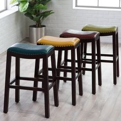 Belham Living Hutton Leather Backless Saddle Bar Stool With Nailheads From Hayneedle