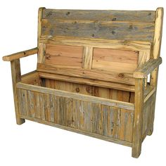 Etonnant Rustic Old Wood Storage Bench