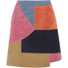 M.i.h Jeans Kalle patchwork suede mini skirt ($525) ❤ liked on Polyvore featuring skirts, mini skirts, bottoms, a-line skirt, zipper mini skirt, pink a line skirt, short mini skirts and suede skirt
