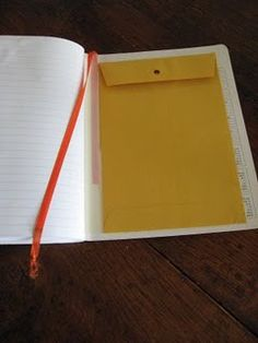 "Interactive notebooks- glue an envelope in the back cover for keeping ""extras"" and a ribbon to be used as a bookmark. I can unit this for our Unit Study Notebooks."
