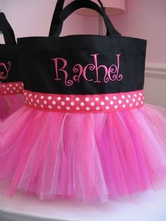 Tutu Dance Tote Bag Black and Pink Monogrammed Bag by gkatdesigns
