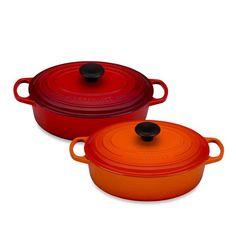 Le Creuset 3.5 Qt. Enamel Cast Iron Signature Wide Oval French Oven :: Colors:  Caribbean, Palm :: $179.99 :: Bed Bath & Beyond :: https://m.bedbathandbeyond.com/m/product/le-creuset-reg-signature-3-5-qt-wide-oval-french-oven/3267394