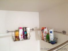 This is a GENIUS level organization hack for small bathrooms. This DIY shower organizer can be made on the cheap from Ikea kitchen organizational tools! Organisation Hacks, Ikea Kitchen Organization, Dorm Organization, Organization Ideas, Shower Storage, Diy Storage, Storage Ideas, Small Showers, Tiny Bathrooms