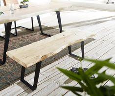 Sitzbank Live-Edge 135x40 Akazie gebleicht Gestell schräg Baumkante Möbel Stühle…