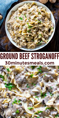 Ground Beef Stroganoff is so unbelievably creamy thanks to a few secret ingredients. Easy to make, in just 30 minutes you have an amazing dinner! #groundbeefstroganoff #stroganoff #30minutesmeals