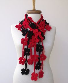 Red and Black TRIO BLOOM Scarf-Ready for shipping by knittingshop