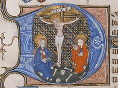 Manuscript Leaf with the Crucifixion in an Initial D, from a Book of Hours, Tempera, ink, and gold on parchment, North French
