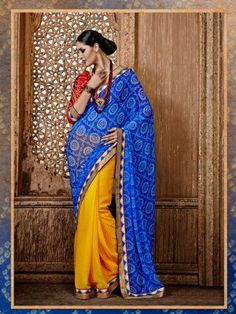 Yellow Blue Bandhni Print Partywear Saree