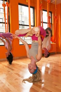 Anti-gravity yoga. i no it as caconing, i want to do this because (even if u r fully grown) it makes u taller!