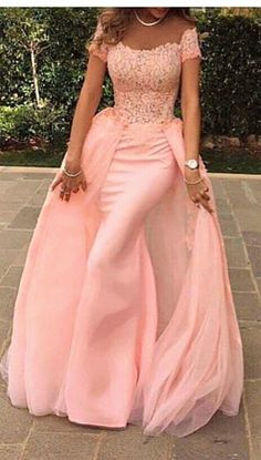 Off The Shoulder Evening Dresses Coral Prom Dresses Mermaid Lace, Cap Sleeve Sexy Evening Gowns Long,Custom New Fashion Party Dresses Mermaid Prom Dresses Lace, Prom Dresses Long Pink, Best Prom Dresses, Tulle Prom Dress, Pageant Dresses, Pretty Dresses, Tulle Lace, Dress Lace, Pink Tulle
