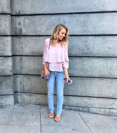 San Francisco Outfit Roundup - Jaclyn De Leon Style- fall outfit inspiration + casual street style look + delicate flowy top with denim + classic ruffle top with dots