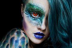 Halloween, dragon, girl, make up, beauty