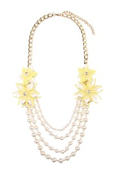 Pearl Floral Accent Necklace