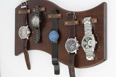 Curved Walnut Hanging Watch Display // Leather Strap Magnetic