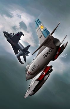 airwar over the Falklands; an Royal Navy Sea Harrier versus an Argentine Air Force Skyhawk; probably fighting over the Port of Stanley as Argentine craft bomb the British Ships in the harbor. Aviation Theme, Aviation Art, Military Jets, Military Aircraft, Fighter Aircraft, Fighter Jets, Falklands War, Airplane Art, Aviation Industry