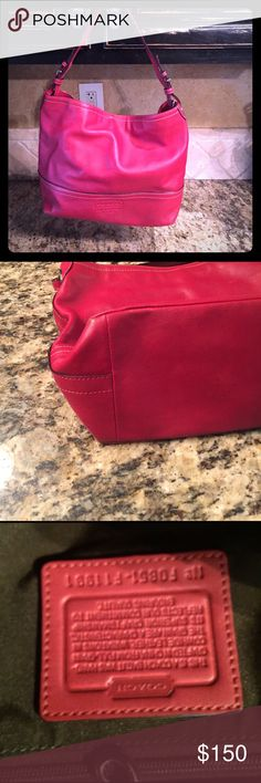 Coach Red shoulder bag pre loved  ❤ good condition Coach beautiful red bag shoulder bag pre❤loved condition in overall great shape only slight wear on corner a little polish will help this not really noticeable inside perfect gently used a few times Coach Bags Shoulder Bags