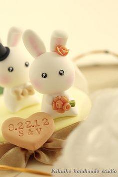 LOVE ANGELS Wedding Cake Topper-love rabbits and bunny by charles fukuyama, via Flickr