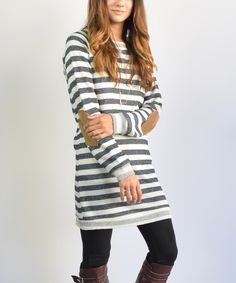 Look at this éloges Dark Blue Stripe Suede-Accent Tunic on #zulily today!