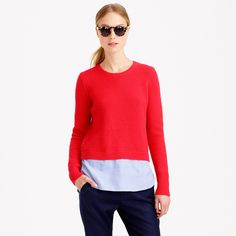 Lambswool shirttail sweater in blue : new arrivals | J.Crew