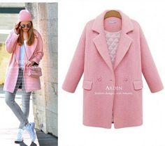 Розовое осеннее-зимнее пальто