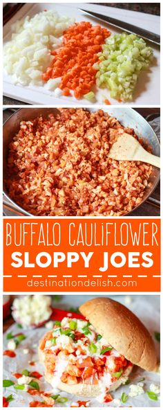 Buffalo Cauliflower Sloppy Joes - A healthy and meatless buffalo-wing inspired recipe made with cauliflower, onions, carrots, and celery sans blue cheese Veggie Dishes, Veggie Recipes, Whole Food Recipes, Vegetarian Recipes, Cooking Recipes, Healthy Recipes, Carrot And Celery Recipes, Healthy Nutrition, Healthy Eating