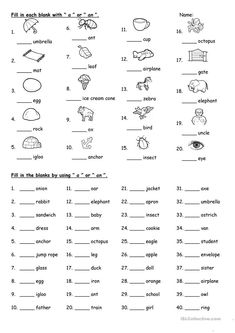 A or An worksheet – Free ESL printable worksheets made by teachers – Grammar English For Students, English Grammar For Kids, Learning English For Kids, Teaching English Grammar, English Lessons For Kids, Grammar Lessons, English Language Learning, Kids English, Spanish Lessons