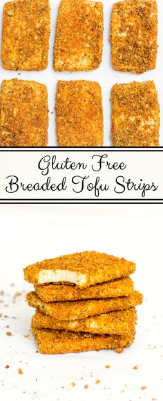 Thick tofu strips, seasoned and breaded to perfection for a crispy texture similar to what you'd get from a chicken strip.