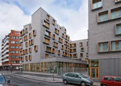 Image 6 of 26 from gallery of Boucicaut / MG-AU / Michel Guthmann Architecture et Urbanisme. Photograph by Takuji Shimmura Small Buildings, Modern Buildings, Front Wall Design, Student House, Residential Complex, Social Housing, Building Facade, Facade Design, Facade Architecture