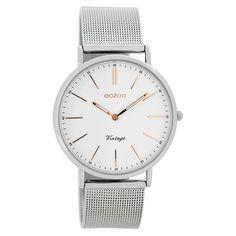 Oozoo C7396 Vintage Damen-Armbanduhr Weiß/Silber