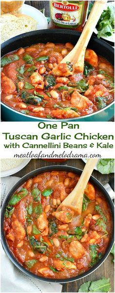 Easy One Pan Tuscan Garlic Chicken with Cannellini Beans and Kale. A quick easy dinner that cooks in just 20 minutes - low carb too! AD